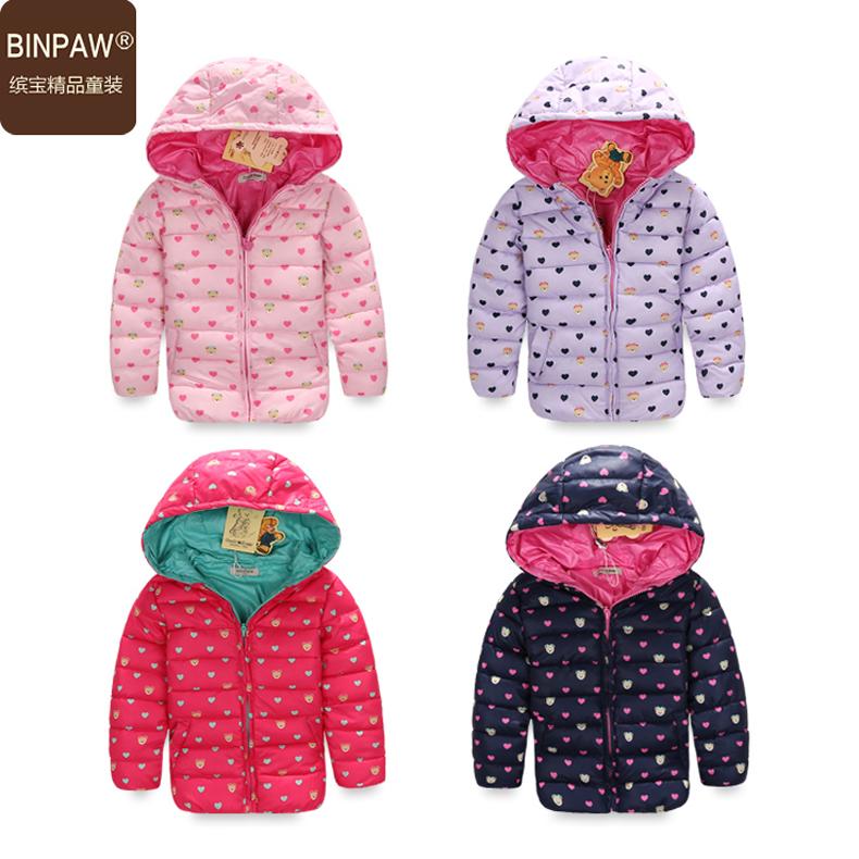 к 2015 году новых binpaw ребенка одежду девочек мягкие Пальто Пальто зимнее ребенка конфеты цветные горошек длинные клип