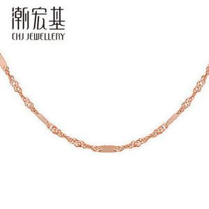 潮宏基<span class=H>珠宝</span>  水波纹18K金项链女款白金彩金锁骨链三色配链