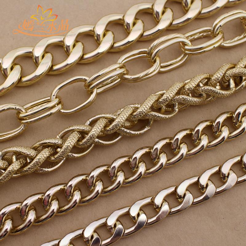 DIY аксессуары монтаж металлические цепи статья золотой алюминий цепочка с модель цепь талия мешки цепь сладкий новинка
