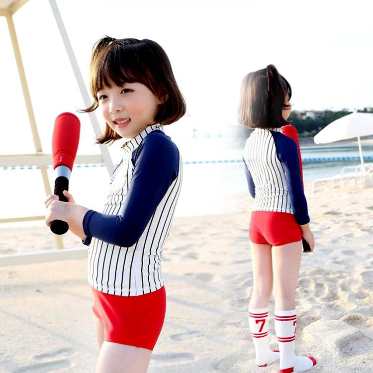 韓國兒童潛水服中大童男女童分體長袖防曬水母衣浮潛速幹泳衣