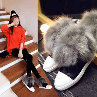 Puqi snow boots flat boots short boots super short hair velvet snow boots and thick insulated boots round-headed woman