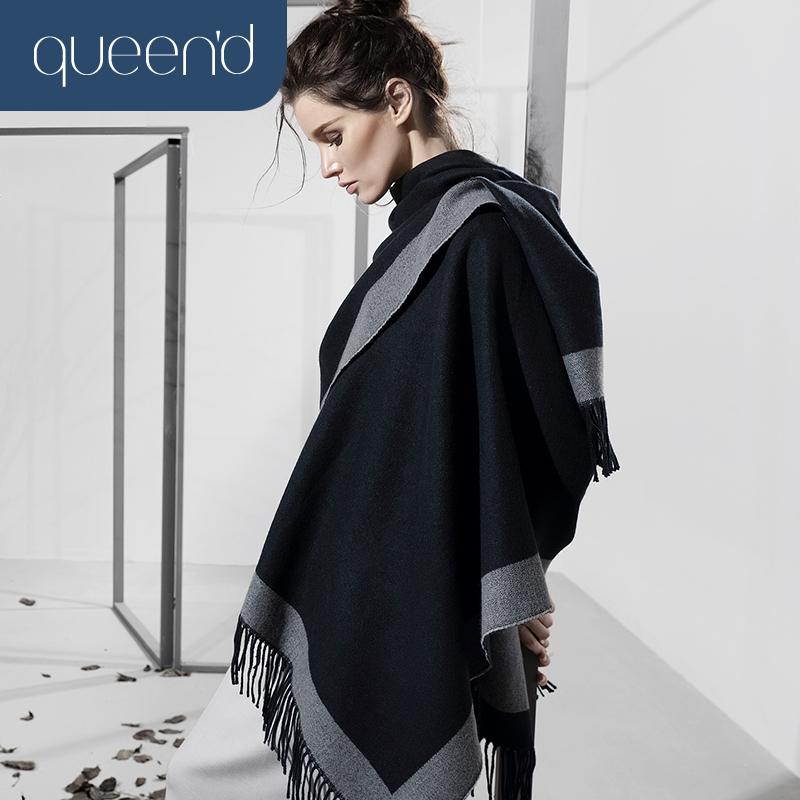 Честный степень осенью и зимой мисс шаль мода цвет hit случайный легко взять кистями, шаль шарф двойной