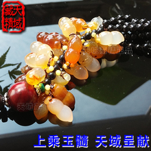 High-grade natural chalcedony stone auto hang act the role ofing is tasted peanut longevity nut peace lucky agate pendant and medallion to ward off bad luck