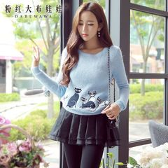 Pullover pink doll 2015 autumn new style women's sweaters crewneck long sleeve knit sweater
