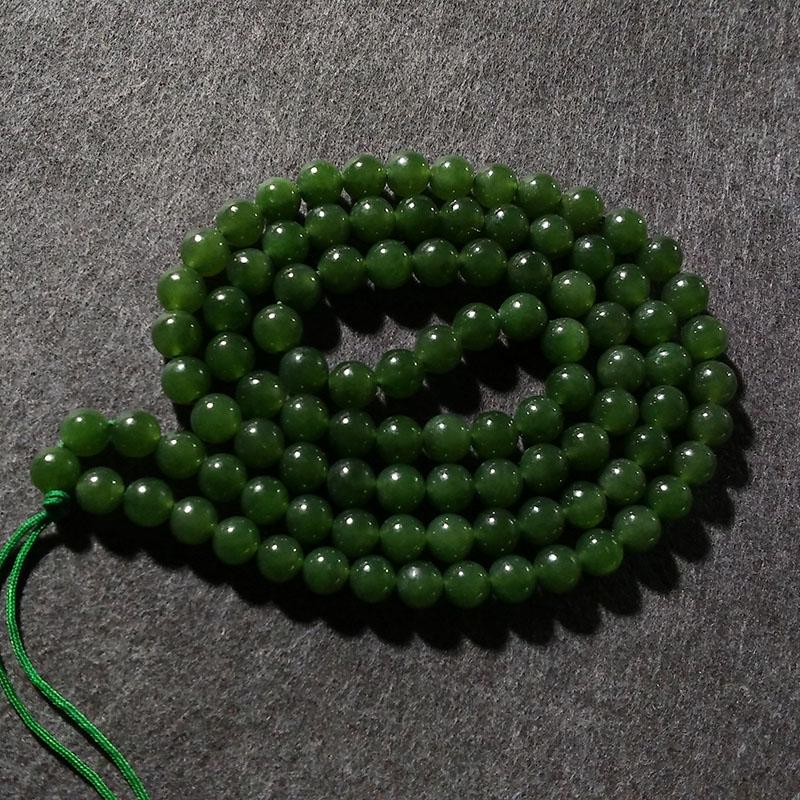 新疆和田玉菠菜绿圆珠项链 玉器玉佩玉坠吊坠玉牌玉石挂绳挂链