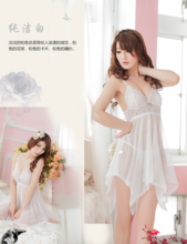 Package mail nightgown sexy lace transparent uniform pajamas Chinese valentine's day gift husband romantic evening