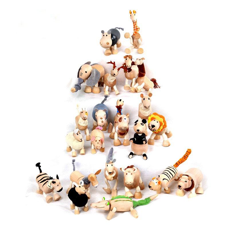 环保木制仿真儿童玩偶宝宝玩具木质口袋公仔关节动物模型益智玩具