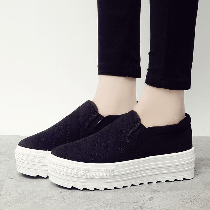 2015 Новый корейский приливных обувь, толстой подошве платформа педали ленивые люди Низкая нога сплошной цвет случайных Холст обувь женская обувь