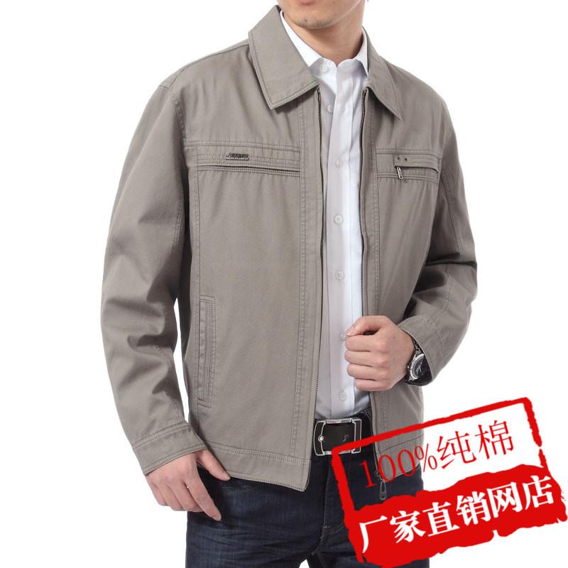 春夏季中老年夹克衫日常休闲男装外套中年男士薄款纯棉夹克爸爸装