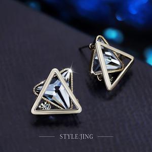 洛卡<span class=H>耳环</span>女立体三角形几何耳钉女韩国气质耳坠简约个性时尚耳饰品
