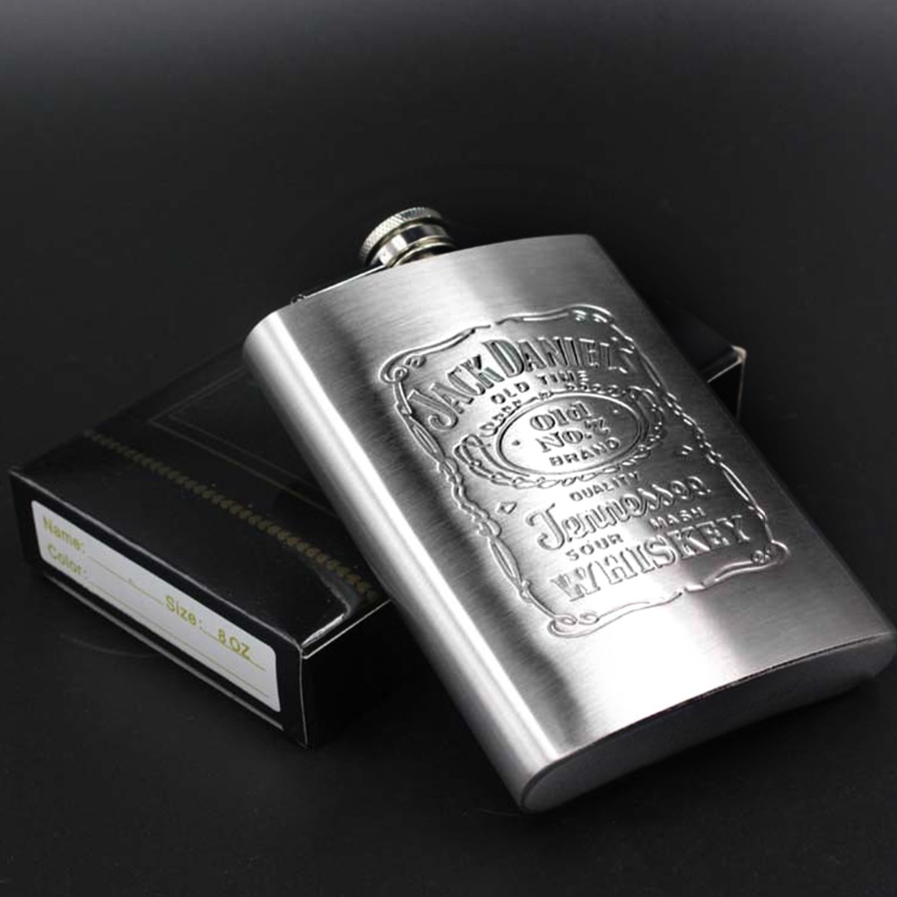 Vintage Style 7 oz 8 oz Stainless Steel Silver Hip Flask Dur