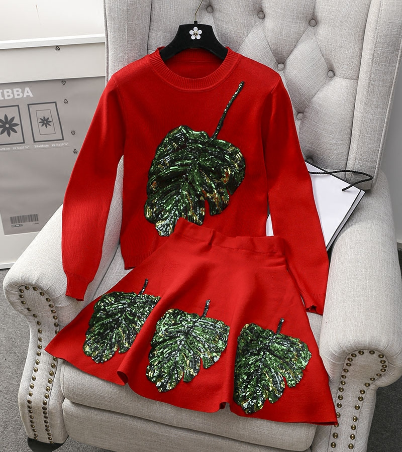 A12 # осень новой корейской версии набора Ye Цзылян длинные платья юбки мода дизайн вязать Твин набор