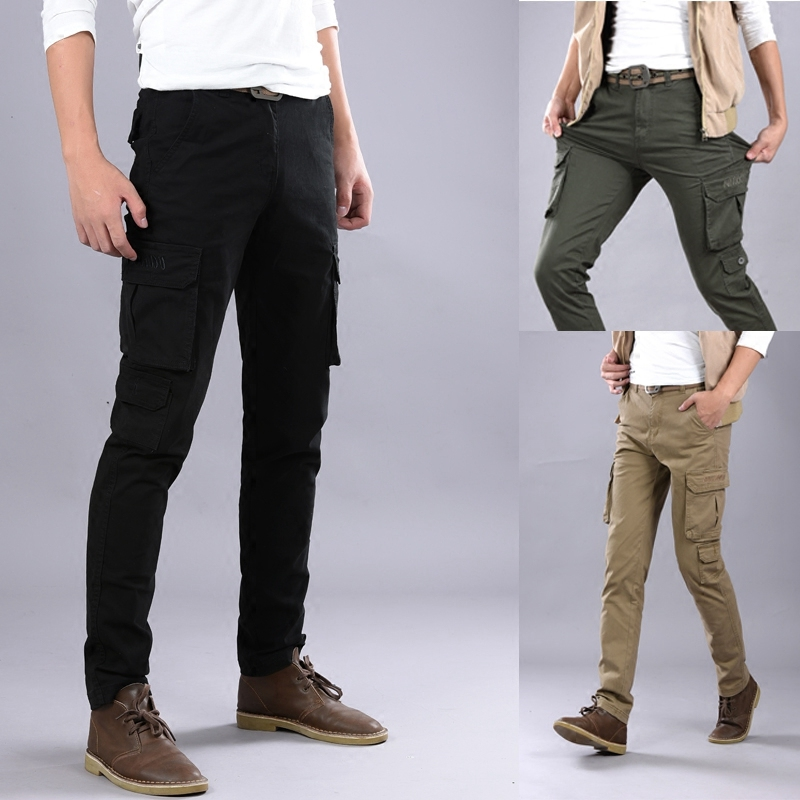 Multi Pocket casual pants mens slim elastic overalls straight tube small feet outdoor military pants tactical Multi Pocket mountaineering pants