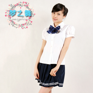 Custom female summer student class service uniforms suit Korean students loaded jk uniforms cute Puff Sleeve Shirt