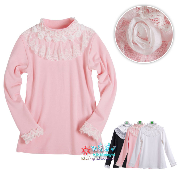 Очистить бутон, цветок и принес девушка красивая весна и осень с корейской версии детей в высокий воротник грунтовки рубашку с длинным рукавом Футболка 9070