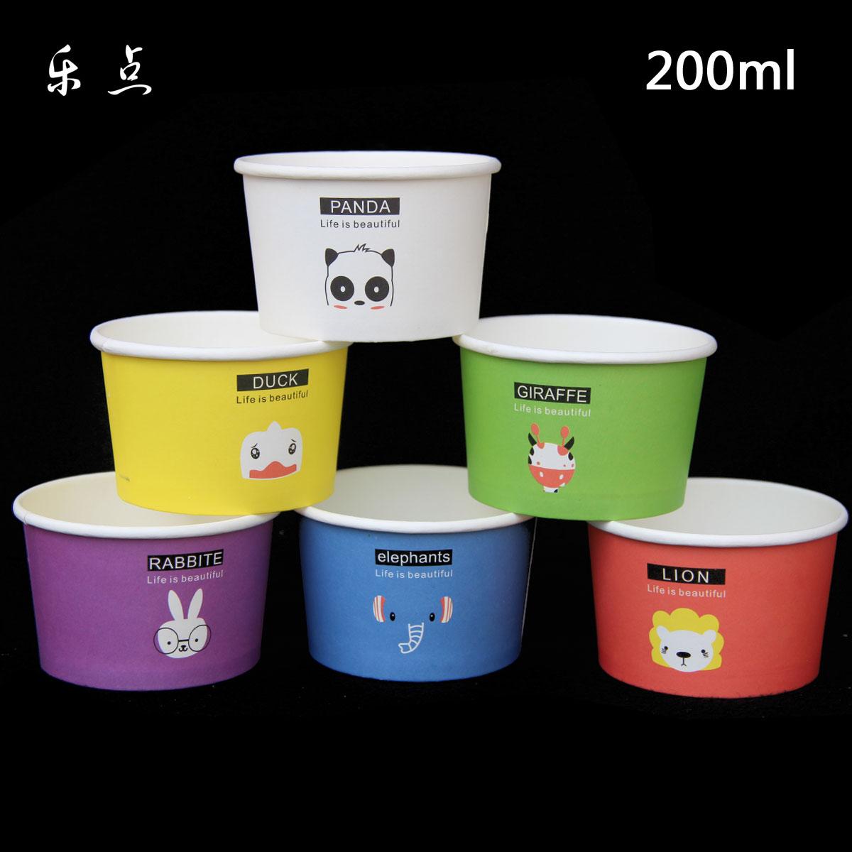 卡通冰淇淋碗一次性紙碗冰激淩紙杯加厚酸奶杯雪糕外帶打包碗帶蓋