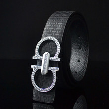 Tide male character 8 letters belt leather Female fashion leisure smooth buckle belts Man han edition decorative belts