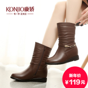 Kang Jiao autumn new boots in winter boots and cashmere increased in simple wind tide in Europe and America with round head shoe
