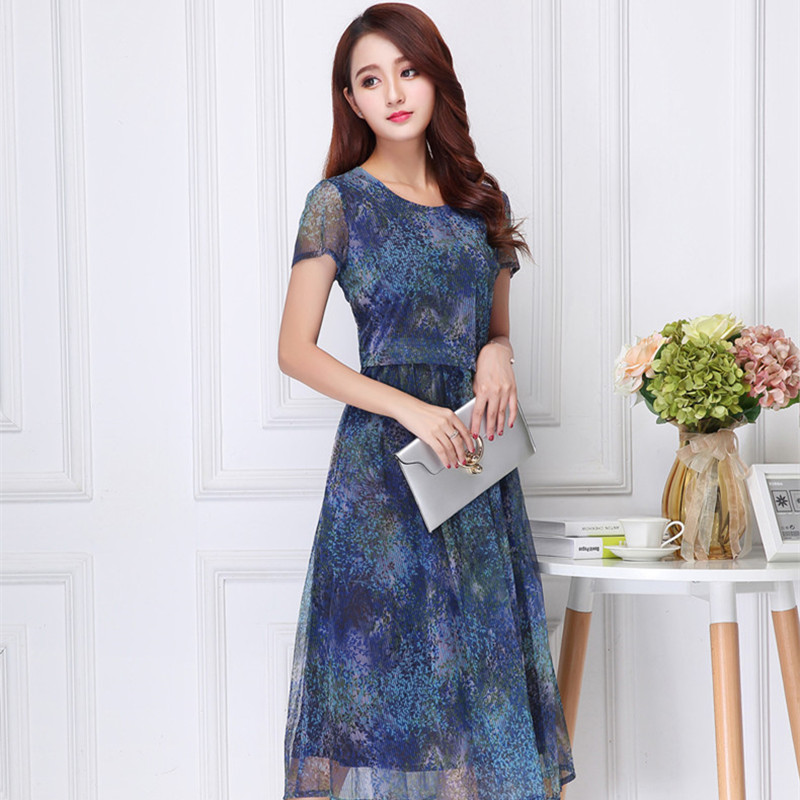 Dota Yixiu dress large womens slim temperament round neck mid long new summer short sleeve mom