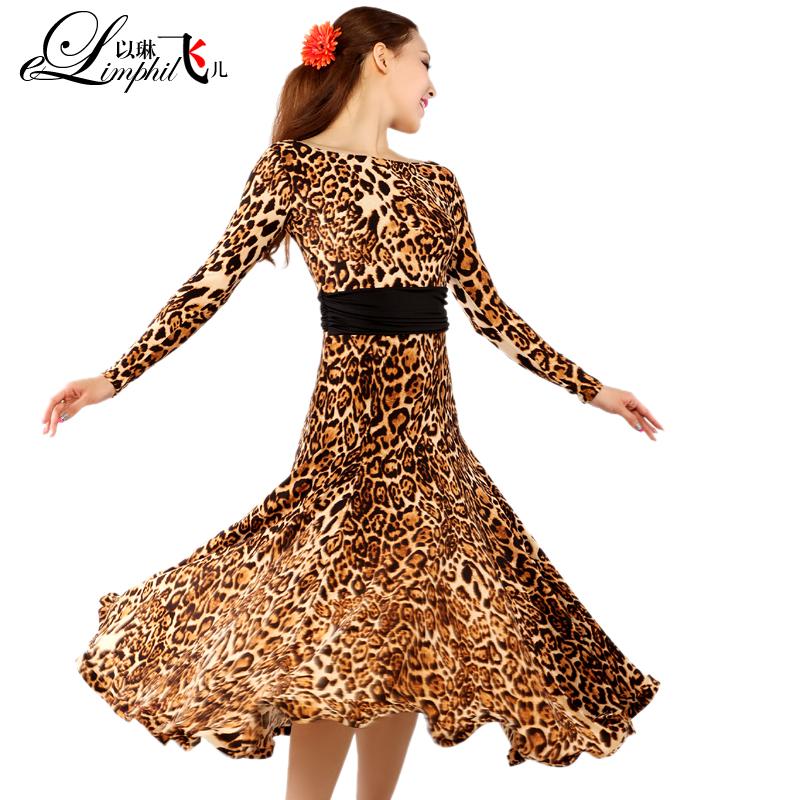 Захватывающие леопарда печати сексуальные платья, современный танец, современный танец юбки новый бальных танцев одежда-201 бальных танцев платье
