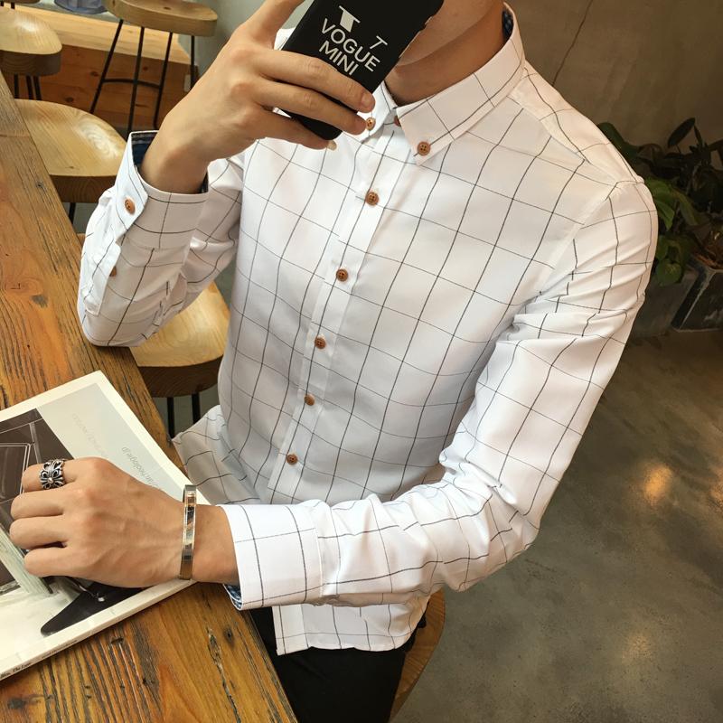 格子長袖男士襯衫免燙大碼青少年打底修身 襯衣男裝潮