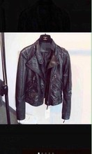 LIKA RULLA large single new winter in Europe and the double zipper locomotive show thin leather jacket, star with money