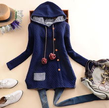 New solid fruit in winter 2014, female is female hooded with false hair bulb long sleeve placket T-shirt