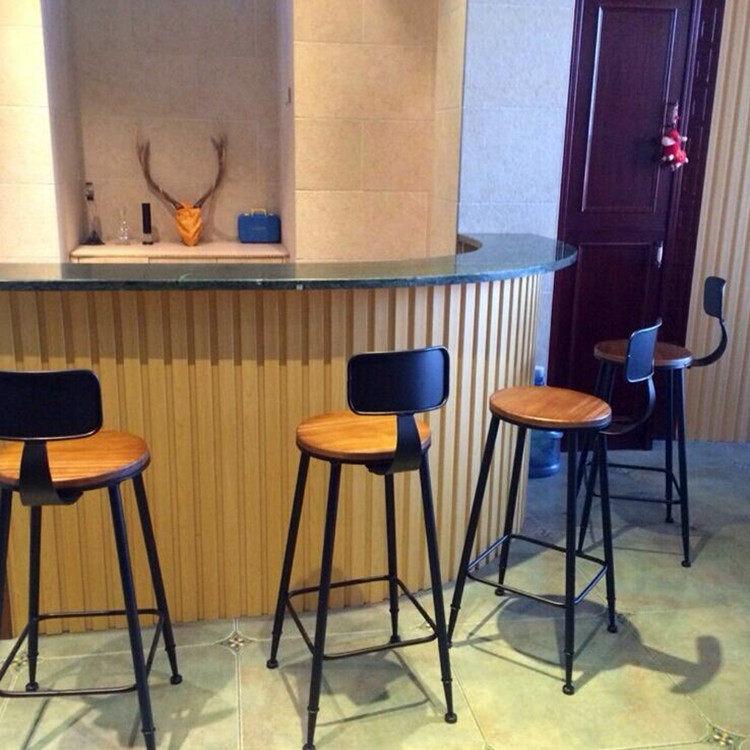 鐵藝實木酒吧椅吧台椅簡約複古高吧椅高凳高腳凳吧凳吧椅靠背椅子