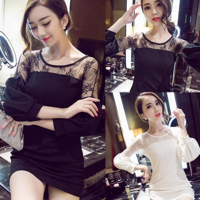 Will the new 2015 big yards long sleeve lace of cultivate one's morality joker render printed skirt sexy OL dress