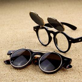 男士太阳镜复古双层翻盖圆框墨镜女潮大牌蒸汽朋克圆形眼镜男图片