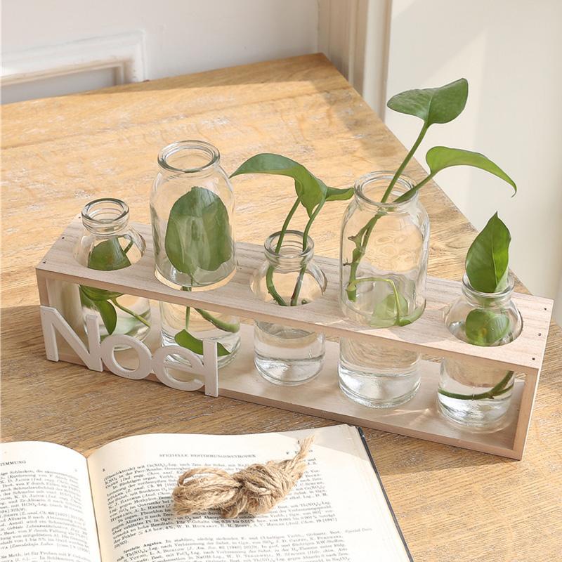 簡約透明玻璃台麵小花瓶 水培綠蘿植物客廳擺件 五聯木座花瓶