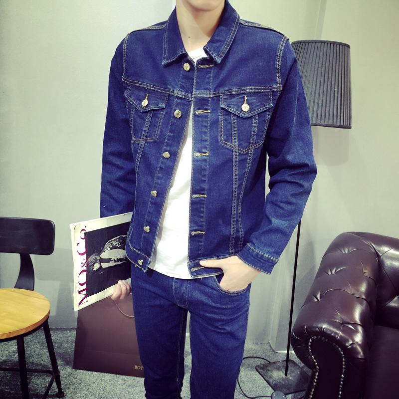 Мужская джинсовая куртка зимняя прилив мужской корейской версии тонкий молодежный длинный рукав джинсовые куртки, носили студент пальто куртки
