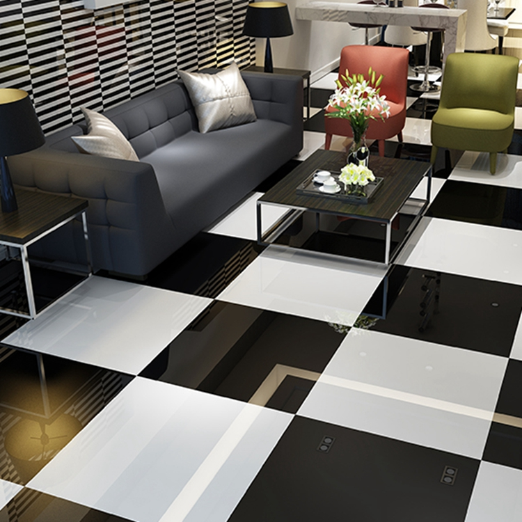 Pure black full polished glazed 800x800 living room floor tile tile pure white glazed tile bright floor tile tile