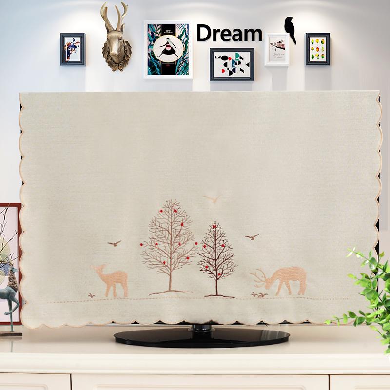 北欧风格55寸刺绣布艺4260寸液晶电视机罩55寸电视防尘罩挂座两用