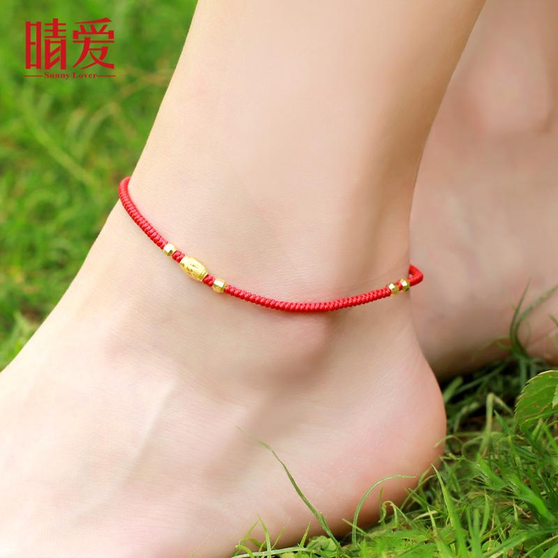 【 регулируемые размер 】999 чистое золото золото ножная цепь золото красная строка женщина бисер растяжимый красные модели в моделье агат