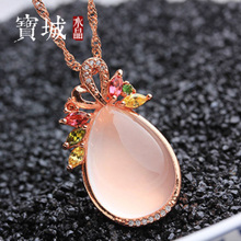 Special kind of natural ice powder crystal pendant necklace S925 silver plating rose gold with lotus hang pendant crystal drops of water