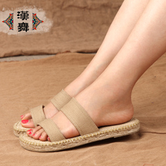 Chinese dance authentic linen slipper women's home floor summer folk style straw shoes Sandals slippers 5L107