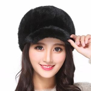 水貂毛皮草帽子真皮棒球帽冬季保暖骑士帽 貂皮鸭舌帽 帽子女冬天