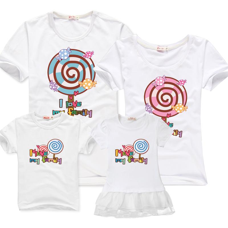 親子裝夏裝全家裝家庭裝 一家三口棒棒糖母女裝2016 潮出遊T恤