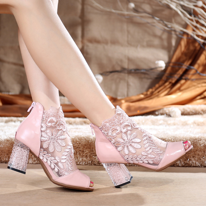 Summer 2020 genuine leather fish mouth sandals hollow lace womens short boots high heel thick heel Size cowhide cool boots net shoes