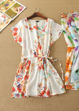 0429-35498, 15 new summer han edition light and printing ink painting flowers loose waist dress