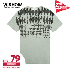 Viishow2015 summer dress new short sleeve t-shirt men short sleeve t-shirt gray cotton prints round neck t shirt