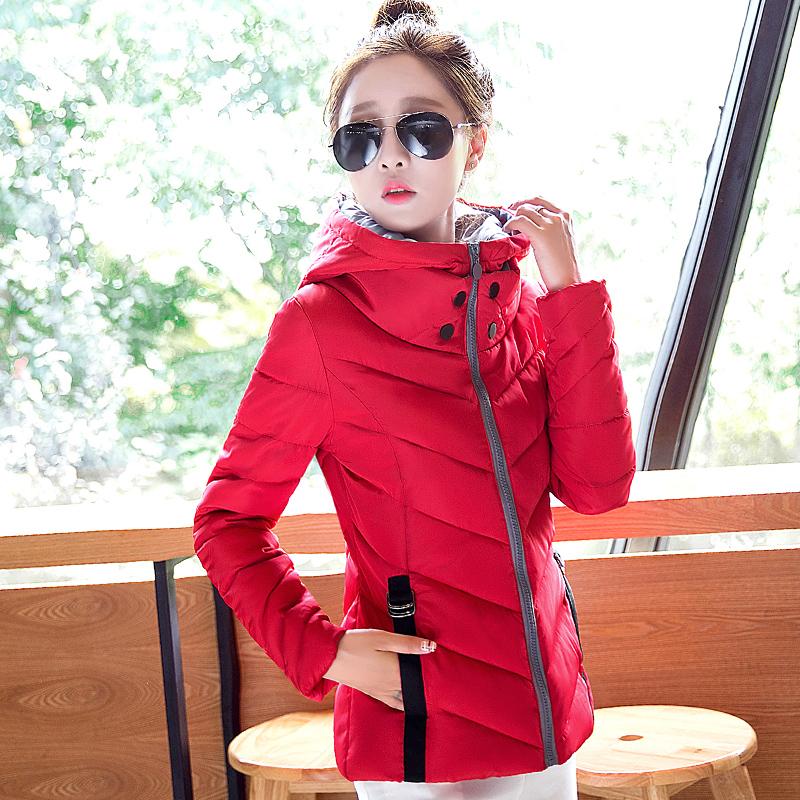 2015 новой корейской версии вниз пуховые одеяла, хлопок дамы короткий зимний тонкий тонкий сплошной цвет пальто с капюшоном зимнее пальто
