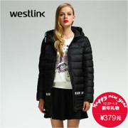 Westlink/West New 2015 winter tide letter stitching ladies hooded warm down jacket