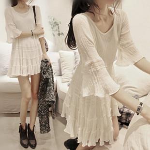 Покупать в южной корее 2017 новая весна и лето модель корейский рукав обтягивающий стройнящий большие качели длина льняная ткань платье женщина