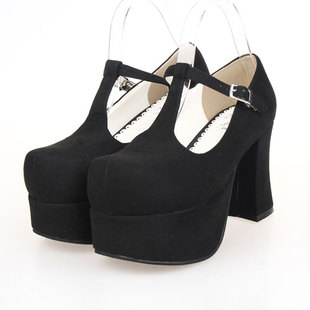 Popular LOLITA COS PUNK shoes, lolita shoes T-9818 black velvet princess shoes