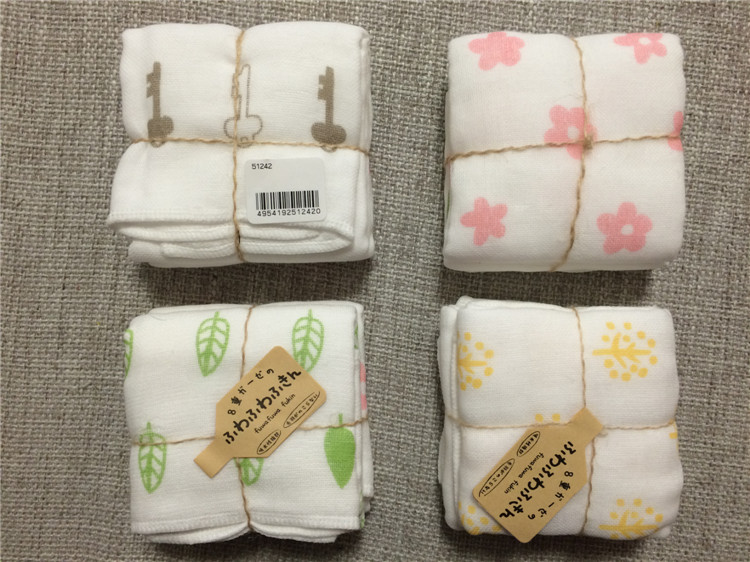 Made in Japan, imported non fluorescent baby saliva towel, 8-layer thick gauze, face wash towel, bath towel, small towel handkerchief