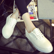 Fall of Korean ladies lace canvas shoes white shoes low literary flat thick-and-white sneakers student shoes