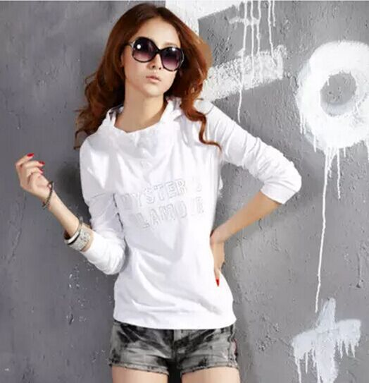 Large size slim casual Hooded Sweater spring and autumn 2020 womens thin pure white cotton T-shirt and Hoodie