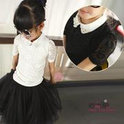 米米果家2015新款中大女童夏短袖翻领T恤缀珍珠蕾丝衬衫弹力上衣